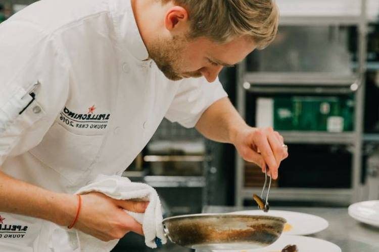 A private chef in Edmonton cooking a dish